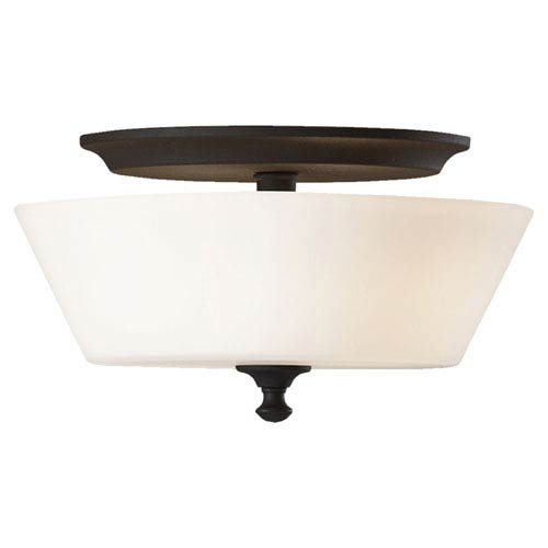 Feiss Peyton Black Two-Light Flush Mount Fixture