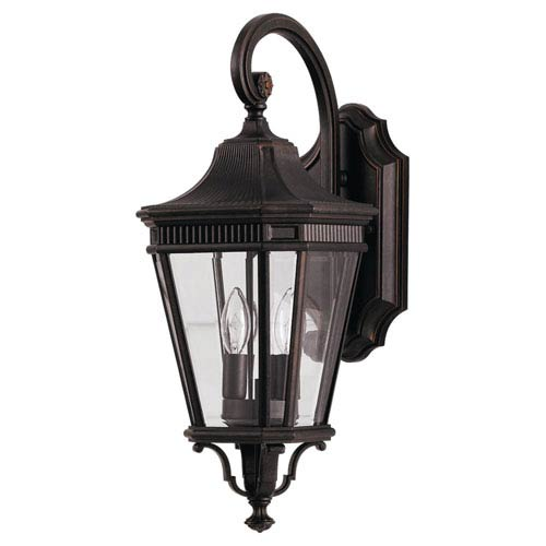 Feiss Cotswold Lane Grecian Outdoor Bronze Two-Light Wall Lantern