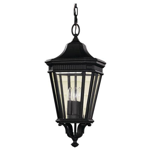 Feiss Cotswold Lane Black Outdoor Three-Light Pendant