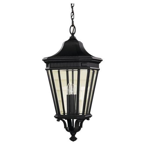 Feiss Cotswold Lane Black Outdoor Three-Light Pendant