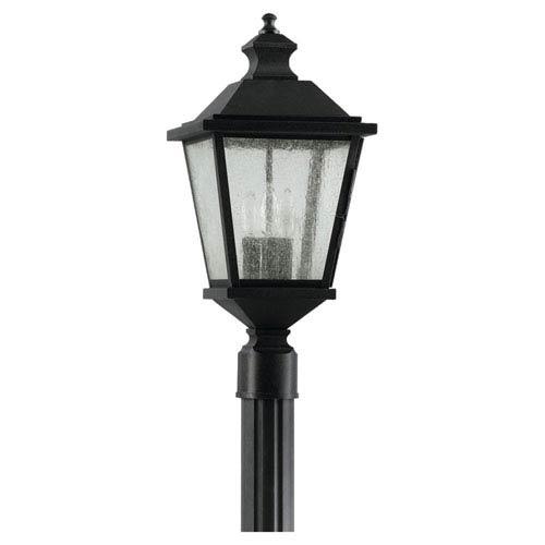 Feiss Woodside Hills Black Outdoor Three-Light Post Light