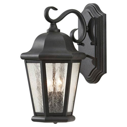 Sea Gull Lighting Martinsville Black Outdoor Wall Lantern Light - Width 8 Inches