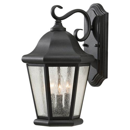 Martinsville Black Outdoor Wall Lantern Light - Width 10.25