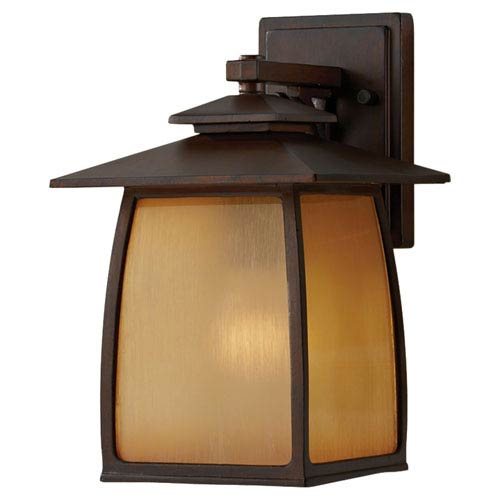 Wright House Sorrel Brown Outdoor Wall Light Fixture - Width 7.8 Inches