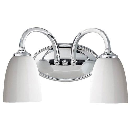 Feiss Perry Brushed Steel Two-Light Vanity Fixture