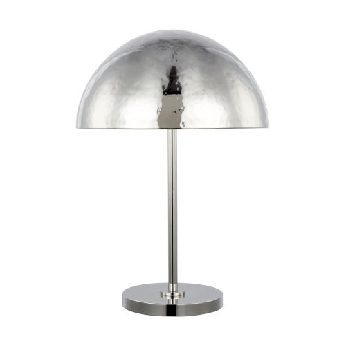 Whare Polished Nickel Two-Light Title 24 Hammered Table Lamp