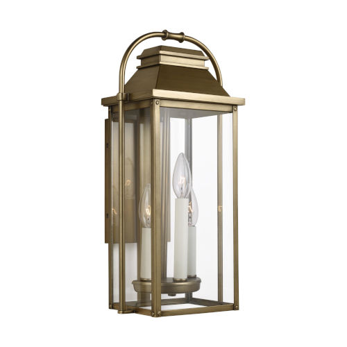 Wellsworth Painted Distressed Brass Nine-Inch Three-Light Outdoor Wall Lantern