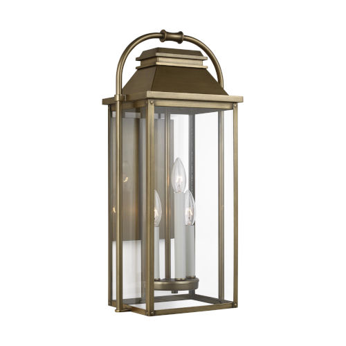 Wellsworth Painted Distressed Brass 11-Inch Three-Light Outdoor Wall Lantern