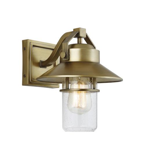 Boynton Painted Distressed Brass Nine-Inch One-Light Outdoor Wall Lantern