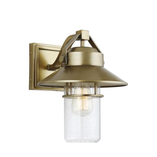 Boynton Painted Distressed Brass 11-Inch One-Light Outdoor Wall Lantern