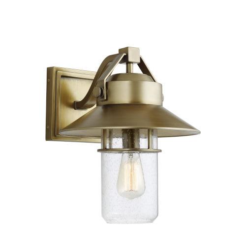 Boynton Painted Distressed Brass 13-Inch One-Light Outdoor Wall Lantern