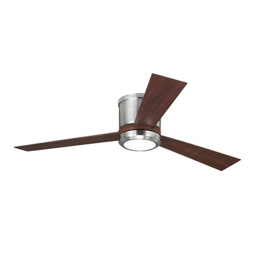 Clarity Brushed Steel 52-Inch LED Hugger Ceiling Fan