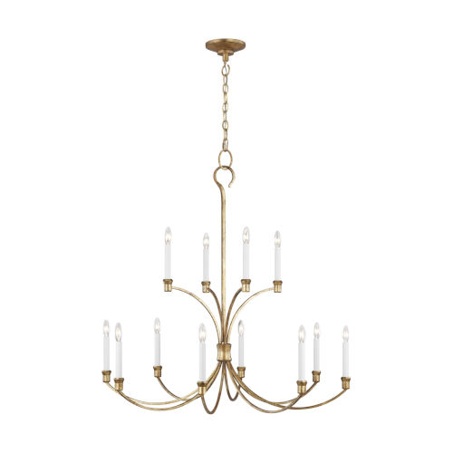 Westerly Antique Gold 42-Inch 12-Light Chandelier