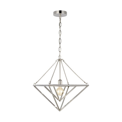 Carat Polished Nickel 16-Inch One-Light Pendant