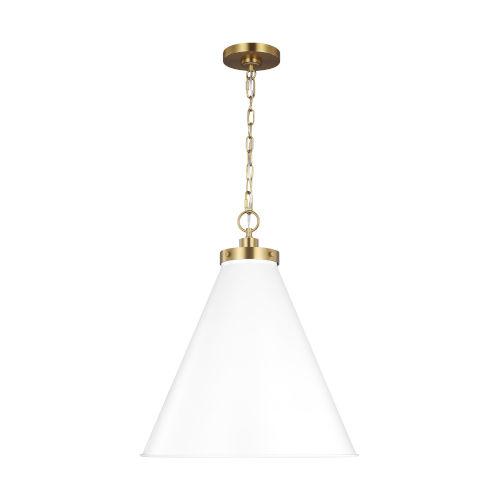 Wellfleet Matte White and Gold 20-Inch One-Light Pendant