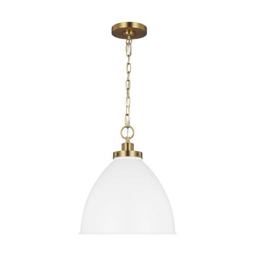Wellfleet Matte White and Gold 14-Inch One-Light Pendant