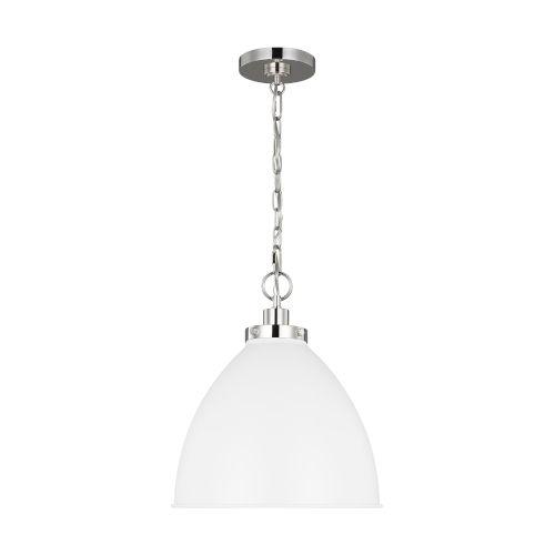 Wellfleet Matte White and Silver 16-Inch One-Light Pendant
