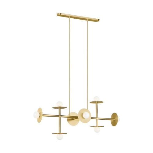 Nodes Burnished Brass Eight-Light Chandelier