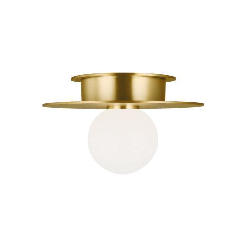 Nodes Burnished Brass 8-Inch One-Light Flush Mount