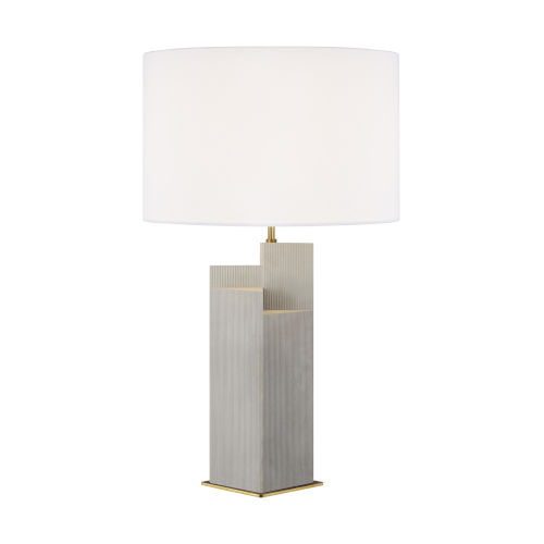 Portman Natural Concrete And Burnished Brass 17-Inch Two-Light LED Table Lamp