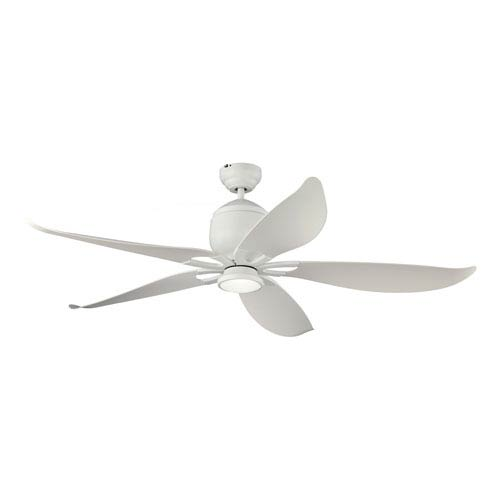 Lily Rubberized Matte White 56-Inch LED Outdoor Ceiling Fan