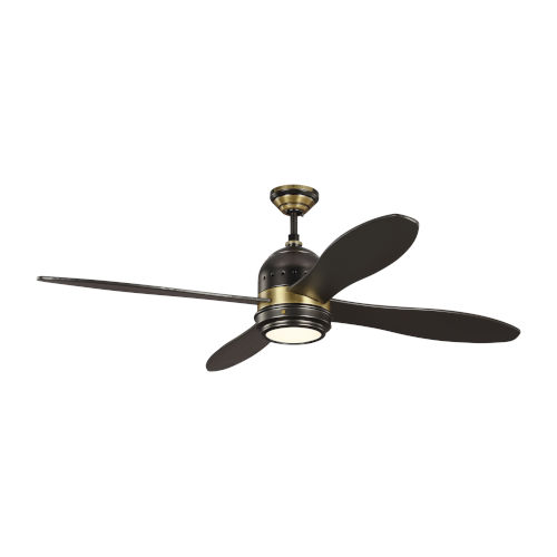 Metrograph Deep Bronze with Brass 56-Inch LED Ceiling Fan