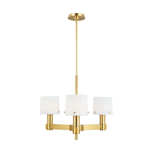 Palma Burnished Brass and White Three-Light Small Chandelier