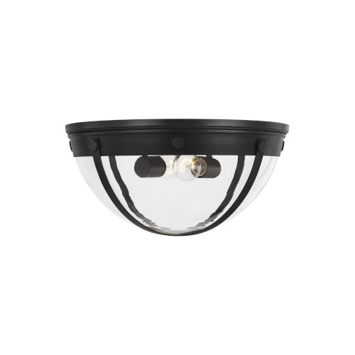 Logan Aged Iron 16-Inch Two-Light Flush Mount
