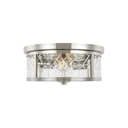 Alec Polished Nickel 13-Inch Two-Light Flush Mount
