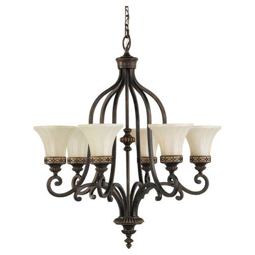Drawing Room Walnut Six-Light Chandelier