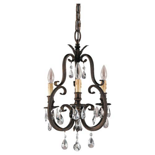 Feiss Salon Ma Mason Aged Tortoise Shell Three-Light Mini Chandelier