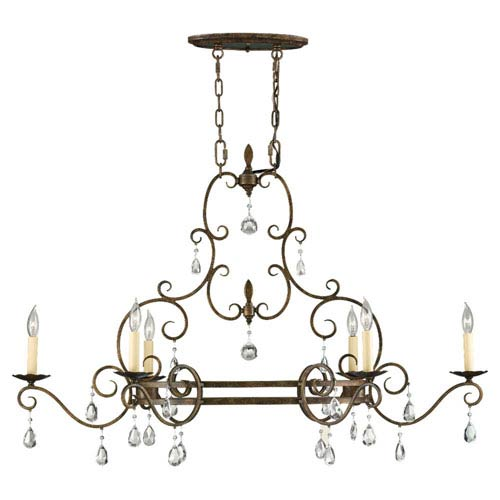 Feiss Chateau Mocha Bronze Six-Light Chandelier