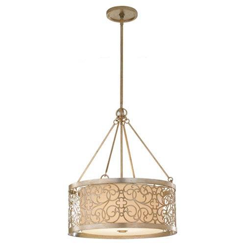 Arabesque Silver Leaf Patina Four-Light Drum Pendant