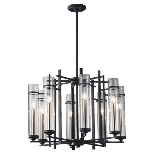 Ethan Antique Forged Iron/Brushed Steel Small Eight-Light Chandelier