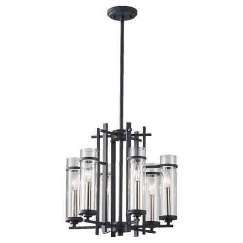 Feiss Ethan Antique Forged Iron/Brushed Steel Six-Light Chandelier
