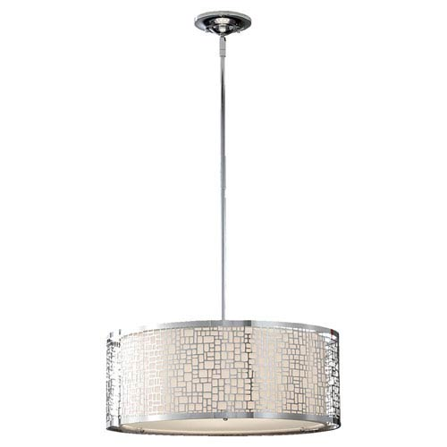 Feiss Joplin Chrome Three-Light Drum Pendant