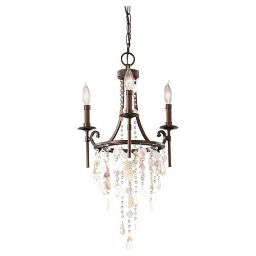Cascade Heritage Bronze Three-Light Chandelier