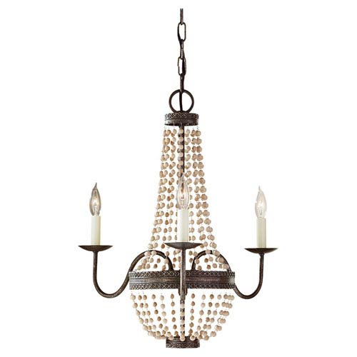 Feiss Charlotte Peruvian Bronze Three Light Chandelier