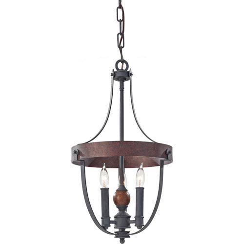 Feiss Alston Af, Charcoal Brick and Acorn Three Light Single Tier Chandelier