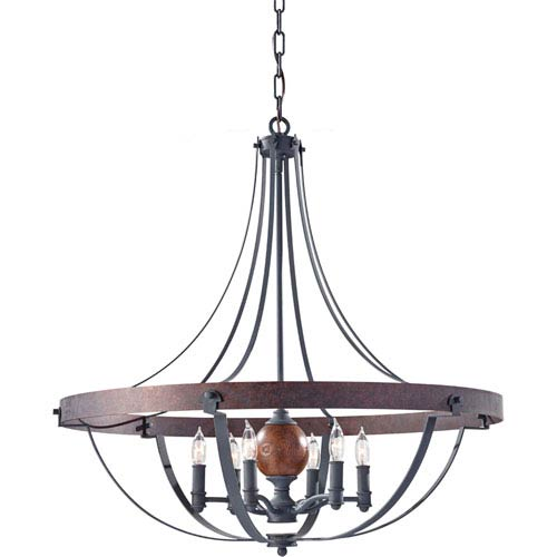 Feiss Alston Af, Charcoal Brick and Acorn Six Light Single Tier Chandelier