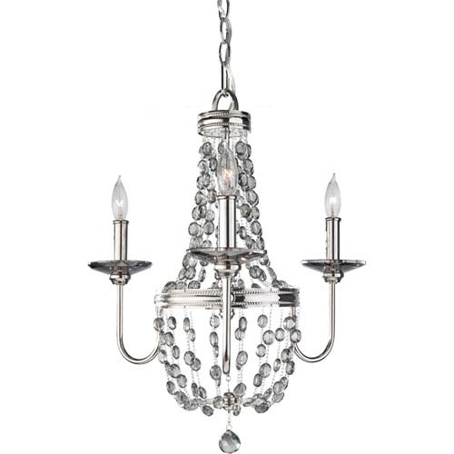 Malia Polished Nickel 19.75-Inch Three Light Crystal Mini Chandelier