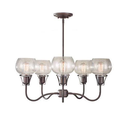 Feiss Urban Renewal Rustic Iron Five-Light Chandelier with Clear Seeded Glass