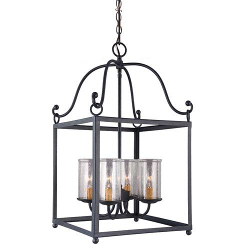 Feiss Declaration Antique Forged Iron Four-Light Pendant with Clear Seeded Glass
