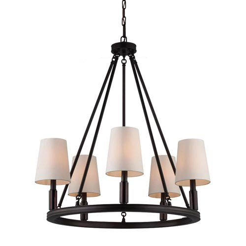 Feiss Lismore Oil Rubbed Bronze Five-Light Chandelier with Ivory Fabric Shade