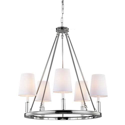 Lismore Polished Nickel Five-Light Chandelier with White Fabric Shade