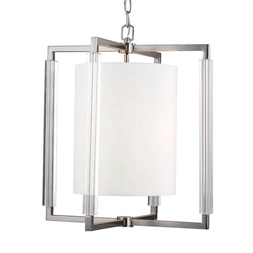 Fording Brushed Steel Three-Light Chandelier with Sandblast Glass