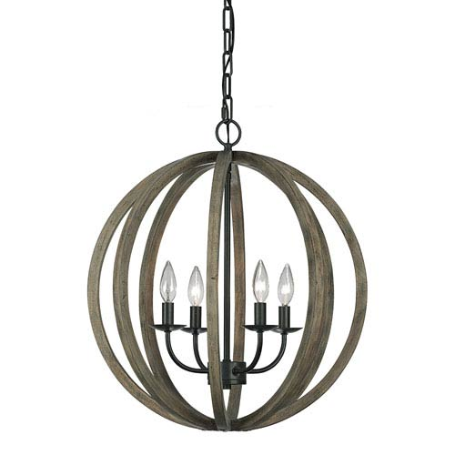 Allier Weather Oak Wood and Antique Forged Iron Four-Light Pendant