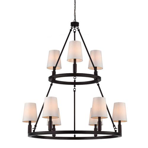 Feiss Lismore Oil Rubbed Bronze Nine-Light Chandelier with Ivory Fabric Shade