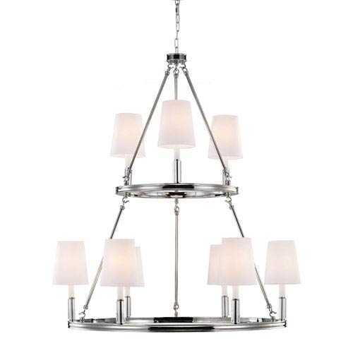 Feiss Lismore Polished Nickel Nine-Light Chandelier with White Fabric Shade