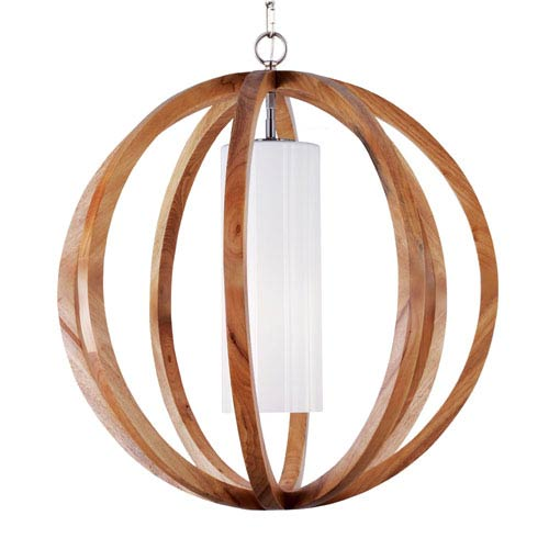 Feiss Allier Light Wood and Brushed Steel 26-Inch WideOne-Light Large Pendant with Clear Opal Glass